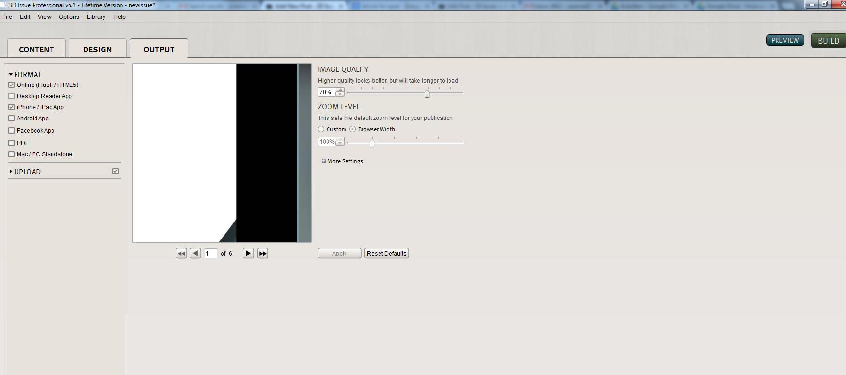 output tab